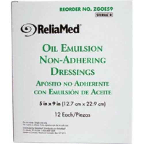 "ReliaMed Oil Emulsion Non-Adhering Dressings 5"" x 9"", 12 Count"