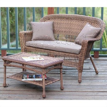Jeco Wicker Patio Love Seat and Coffee Table Set in Honey with Brown Cushion