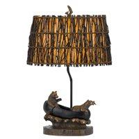 Cal Lighting Bears in Canoe Table Lamp