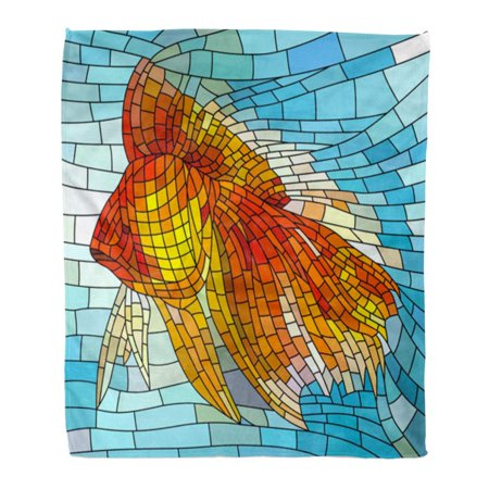 KDAGR Throw Blanket Warm Cozy Print Flannel Colorful Pastel of Gold Fish Stained Glass Window Orange Sea Creative Light Comfortable Soft for Bed Sofa and Couch 58x80 Inches