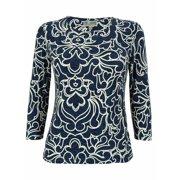 JM Collection Women's 3/4 Sleeve Damask Jacquard Top
