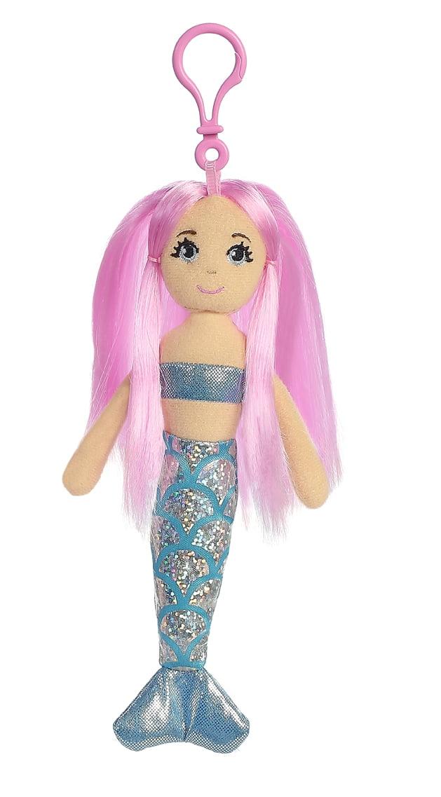 7 Inch Sea Sparkles Crystal Mermaid Plush Clip On Keychain by Aurora