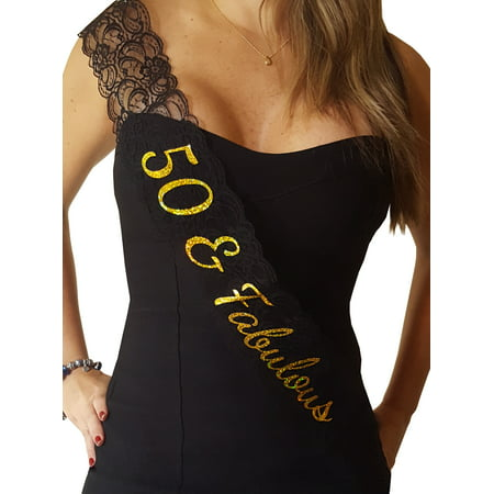 50 & Fabulous Lace Sash: 50th Birthday Sash - 50th Birthday Milestone