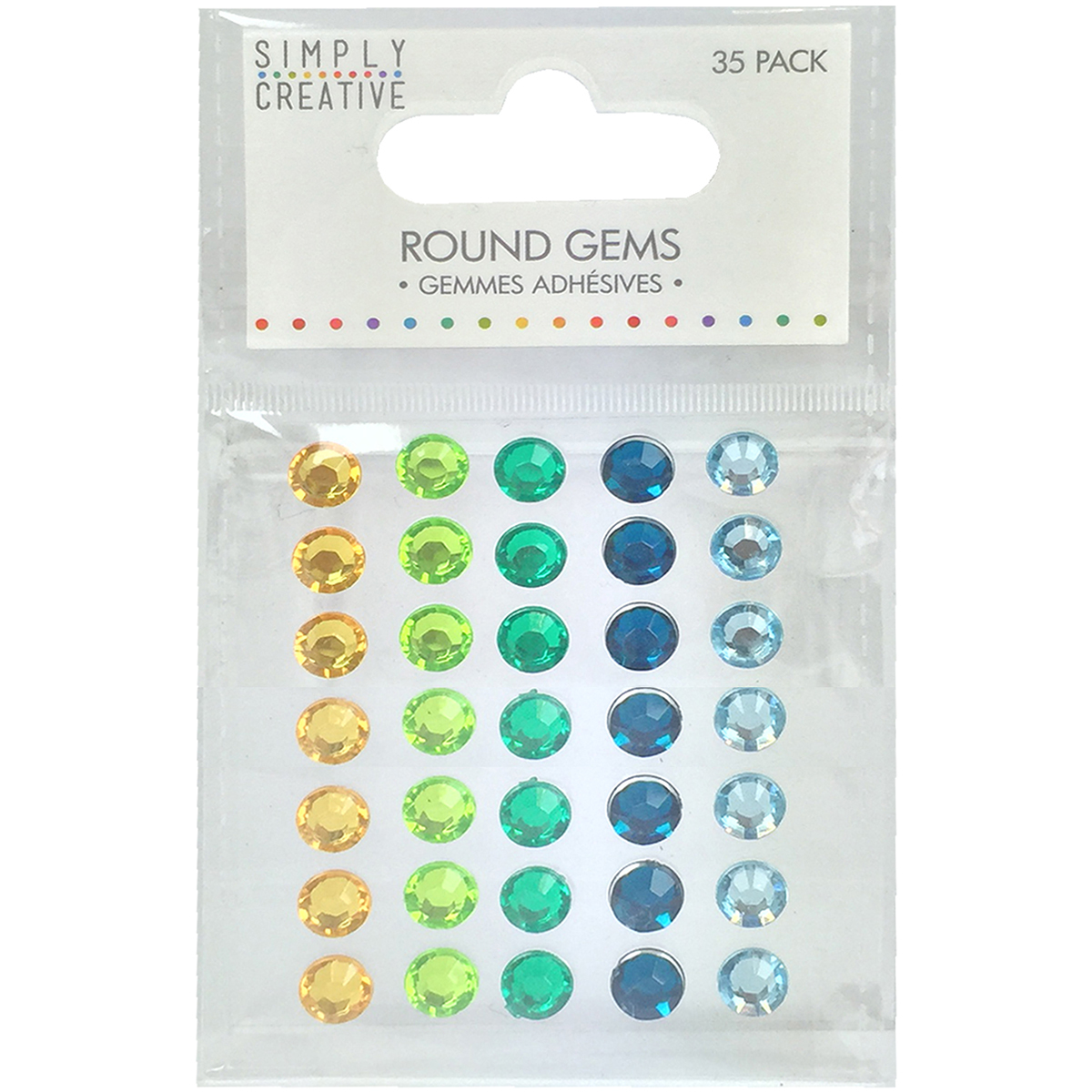 Simply Creative Round Adhesive Gems 35/Pkg-Green, Blue & Yellow