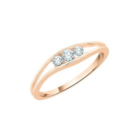 Channel Set 3 Diamond Promise Ring in 14K Rose Gold (1/6 cttw, I-J, I1-I2) Channel Diamond Comfort Promise Ring