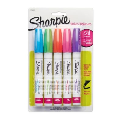 Sharpie Oil-Based Paint Markers, Medium Point, Assorted Colors, 5 Pack