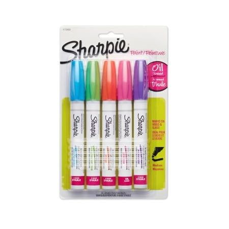 Sharpie Oil-Based Paint Markers, Medium Point, Assorted Colors, 5