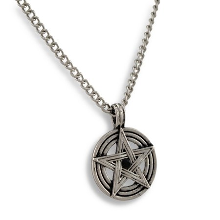 Chrome Plated Pentacle Necklace W/ Black Rhinestone 20 Inch