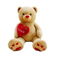 "Pioupiou Jumbo 48"" Plush Teddy Bear w/ ""I Love You"" Heart (Birthdays, Valentines Day, Engagements, Special Gifts, Mother's Day, Sweetests Day)"