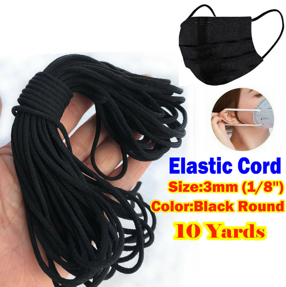 3mm 1 8 Black Round Elastic Band Cord Ear Hanging Sewing For