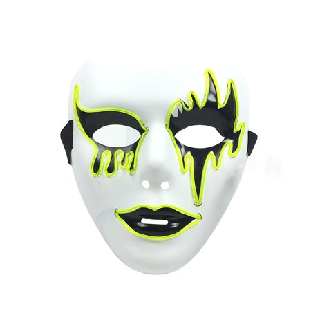 El Wire Glowing Mask Luminous LED Light Up Cool Christmas Halloween DJ Birthday Cosplay Masks for Festival Party Show (Fluorescent - Halloween Block Party Tv Show