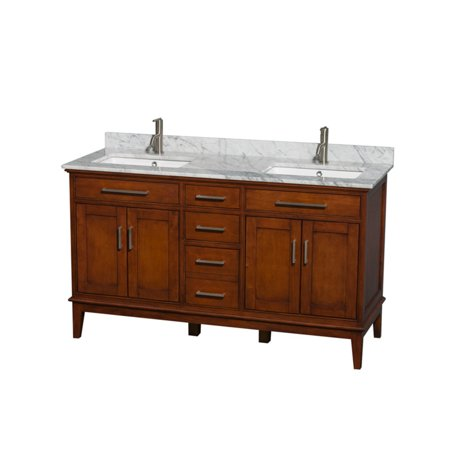 Wyndham Collection Hatton 60 inch Double Bathroom Vanity in Light Chestnut, White Carrera Marble Countertop, Undermount Oval Sinks, and No Mirror