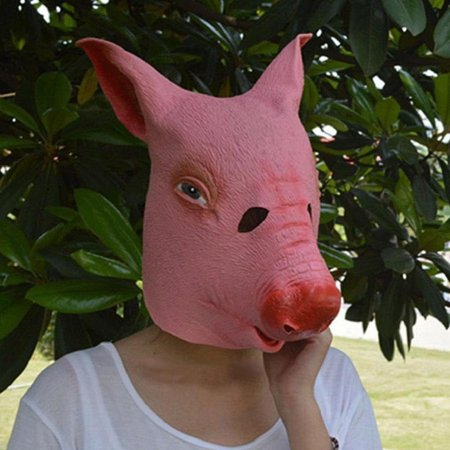Halloween Costume Cosplay Latex Animal Head Mask For Halloween Party (Pig)