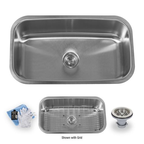 "Miseno MSS3219C 32"" Undermount Single Basin Stainless Steel Kitchen Sink - Drain Assembly, Basin Rack & Maintenance Kit Included"