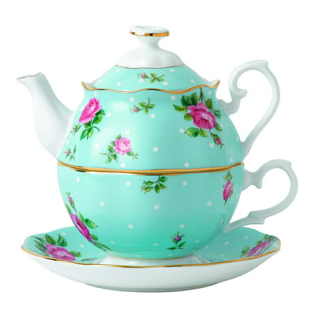 Royal Albert China New Country Roses Polka Blue Tea for One,