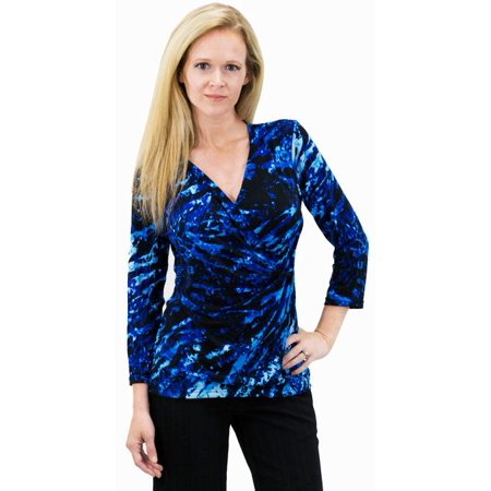 Women's Solid/Print V Neck 3/4 Sleeve Knit Front Drape Wrap Jersey Tops Side Shirring Blouse ( Ocean (Knit Faux Wrap Top)