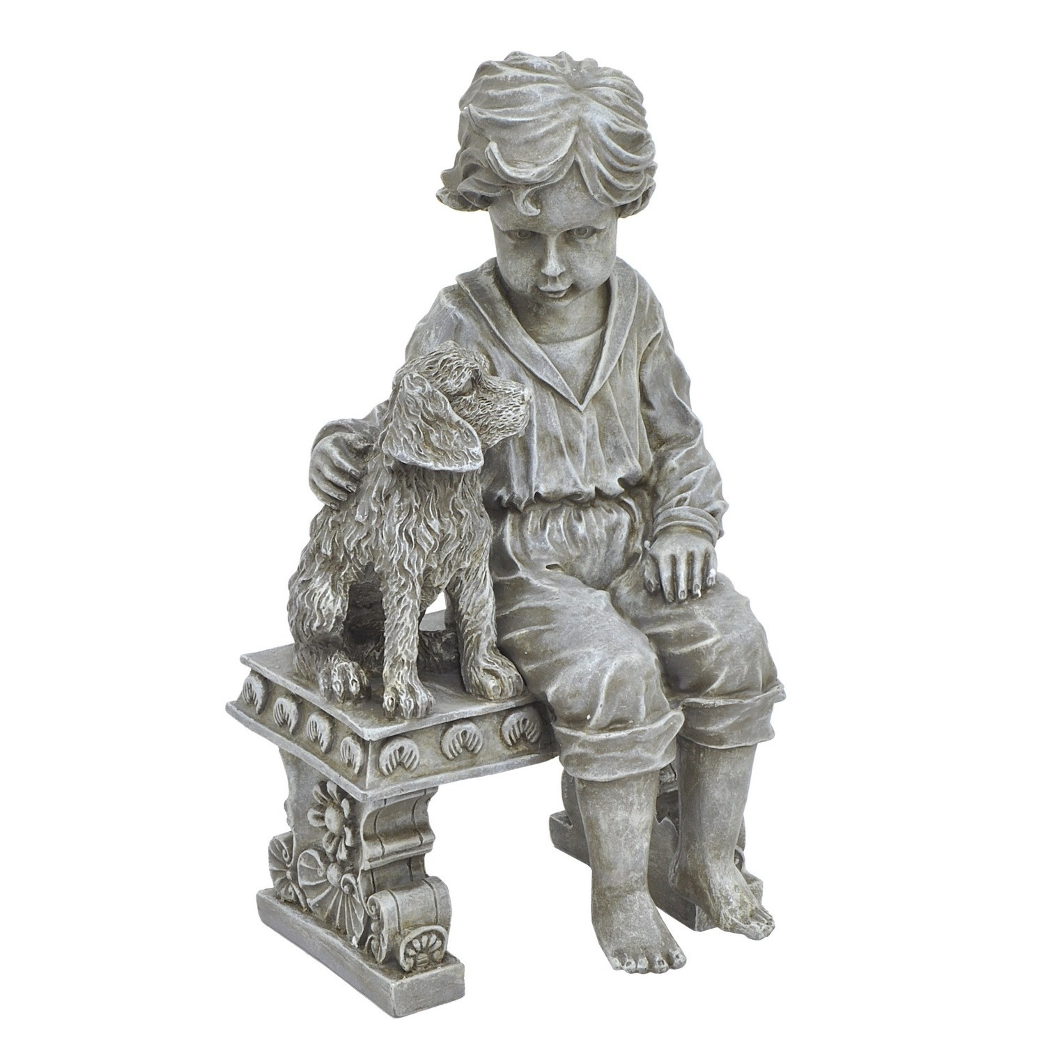 Three Hands Boy with Dog on Bench Garden Statue by Overstock