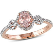 Tangelo 1/2 Carat T.G.W. Morganite and 1/5 Carat T.W. Diamond 10kt Rose Gold Halo Cocktail Ring