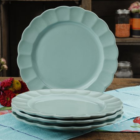 The Pioneer Woman Luster Teal 10.7-Inch Dinner Plates, Set of 4 - Turkey Dinner Plates