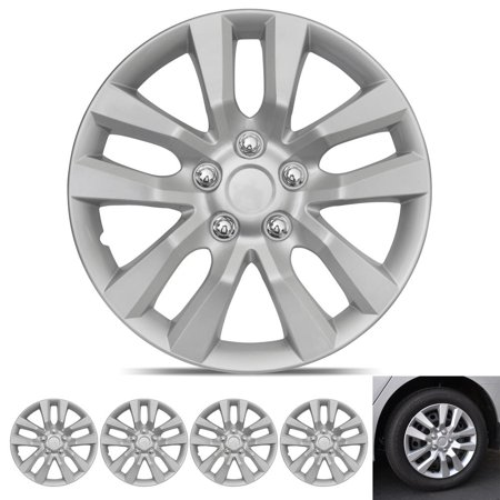 BDK Hubcap Wheel Covers Nissan Altima Style - 16 Inch Silver Replica Cover, OEM Factory Replacement (4 (Hub Piloted Wheel)