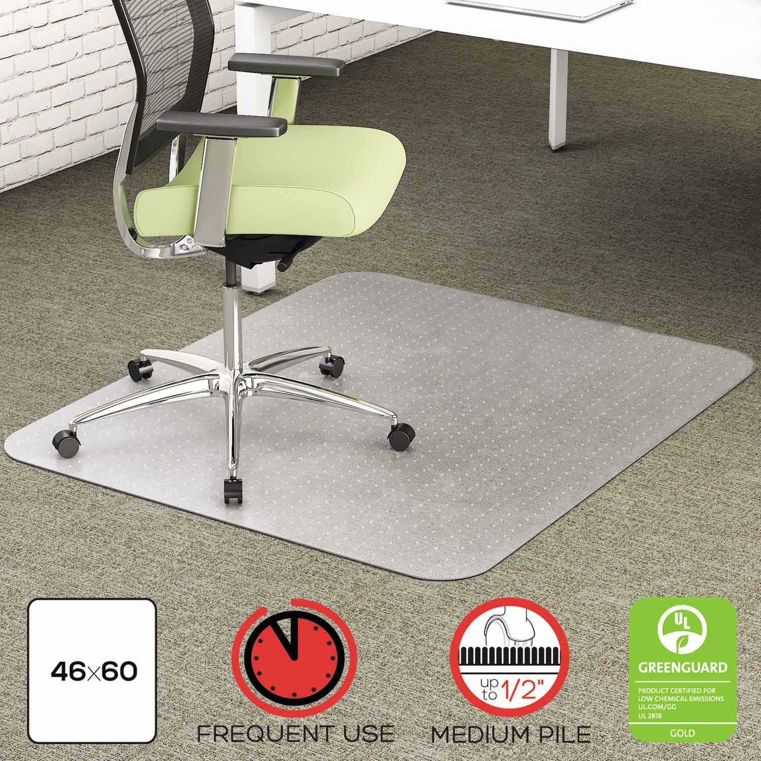 "deflecto EnvironMat Recycled Anytime Use Chair Mat for Med Pile Carpet, 46"" x 60"", Clear"