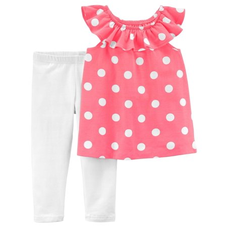 Polka Dot Ruffle Legging - Carter's Big Girls' 2-Piece Polka Dot Ruffle Top & Capri Legging Set, 7 Kids