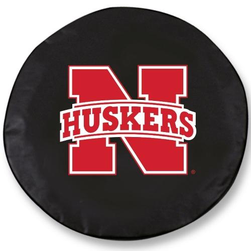 NCAA Tire Cover by Holland Bar Stool - Nebraska Huskers, Black - 30 L x 10 W