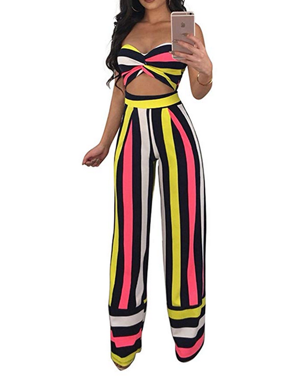 6152e43a2d64e Product Image Womens Sexy Striped Off Shoulder 2 Pieces Outfits Jumpsuit  Romper Crop Top and High Waist Wide