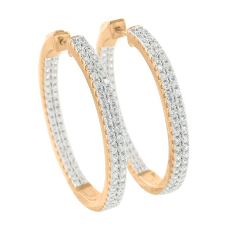 Lab Created Cubic Zirconias Huggie Hoop Earrings 14K Rose Gold Finish Over Sterling Silver