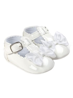 Nicesee Baby Glossy PU Leather Shoes Bowknot Anti-slip