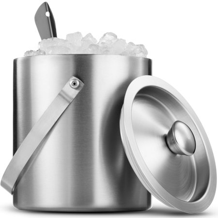 Leoney Brushed Stainless Steel Double-Walled Ice Bucket with Lid, Compact Heavy-Duty Metal Ice Bucket with Handle and Wide Tapered Scoop for Half Gallon of Ice and Chilling Wine and Liquor