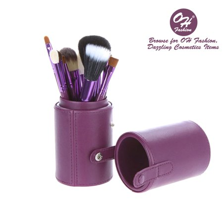 Contouring Eye System - OH Fashion 12 pc Makeup Brushes Set, Galaxy Purple, Powder, Eyeshadow, Blush , Foundation, Blending, Eyeliner, Lip - Great for Highlighting & Contouring. Includes cylindrical storage case.