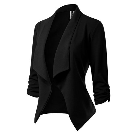 Made by Olivia Women's [Made in USA] Classic 3/4 Gathered Sleeve Open Front Blazer Jacket (S-3XL) Black 2XL - Flower Blazer