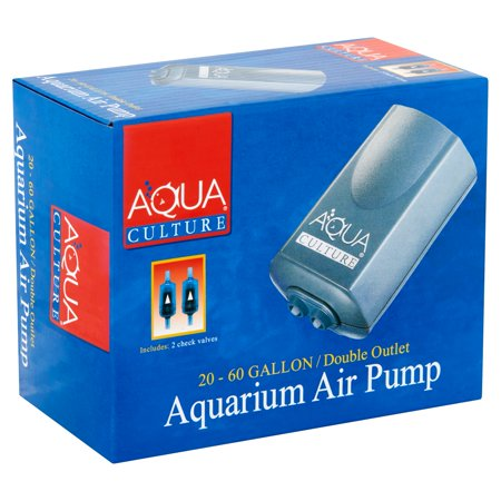 External Aquarium Water Pumps - Aqua Culture 20-60-Gallon Double Outlet Aquarium Air Pump