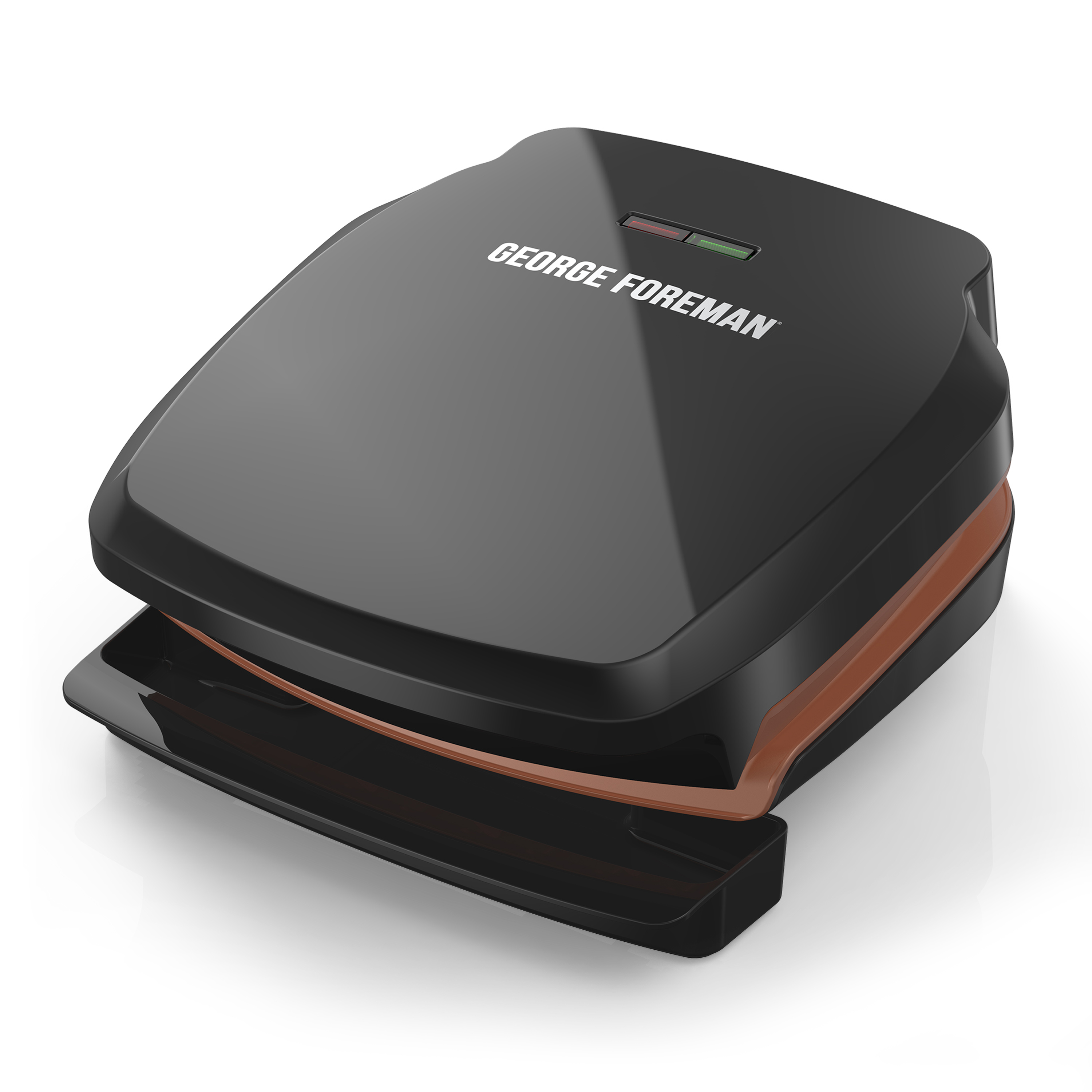 George Foreman 2-Serving Copper Color Classic Plate Grill, Electric Indoor Grill and Panini Press, Black/Copper, GR320FBC