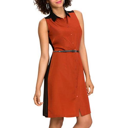 Miss Tina Women's Sleeveless Shirtdress