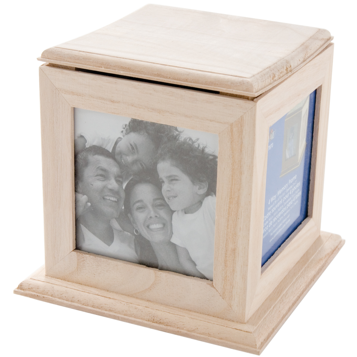 "Plaid   Wood Surfaces, 4-Way Memory Frame, size: 5 3/4 "" x 5 3/4 "" x 5 1/2 "",   3"" x 3"" openings"