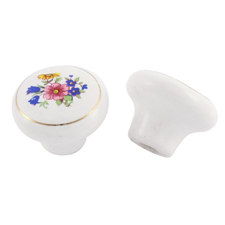Cupboard Ceramic Floral Leaf Pattern Decorative Mortice Door Knob Handle 2 (2 Leaf Knob)