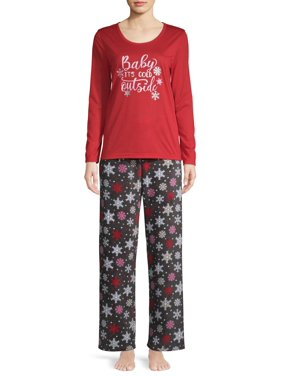 Sleep & Co Women's 2-Piece Long Sleeve Top & Plush Sleep Pant Set