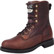 """Georgia Work Boots Men 8"""" Carbo Tec Leather Lacer Round Toe Brown G008"""