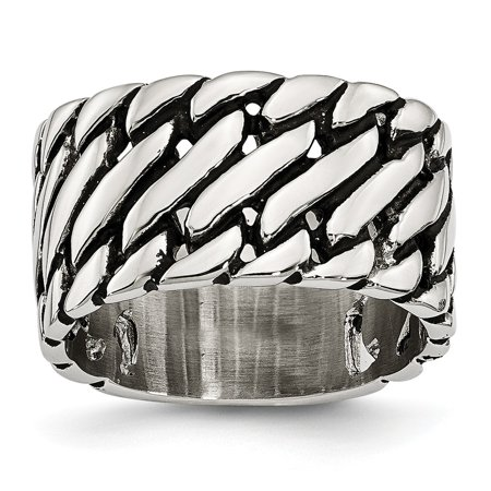 Chisel Stainless Steel Men's Polished Tread Design Ring, Size 10