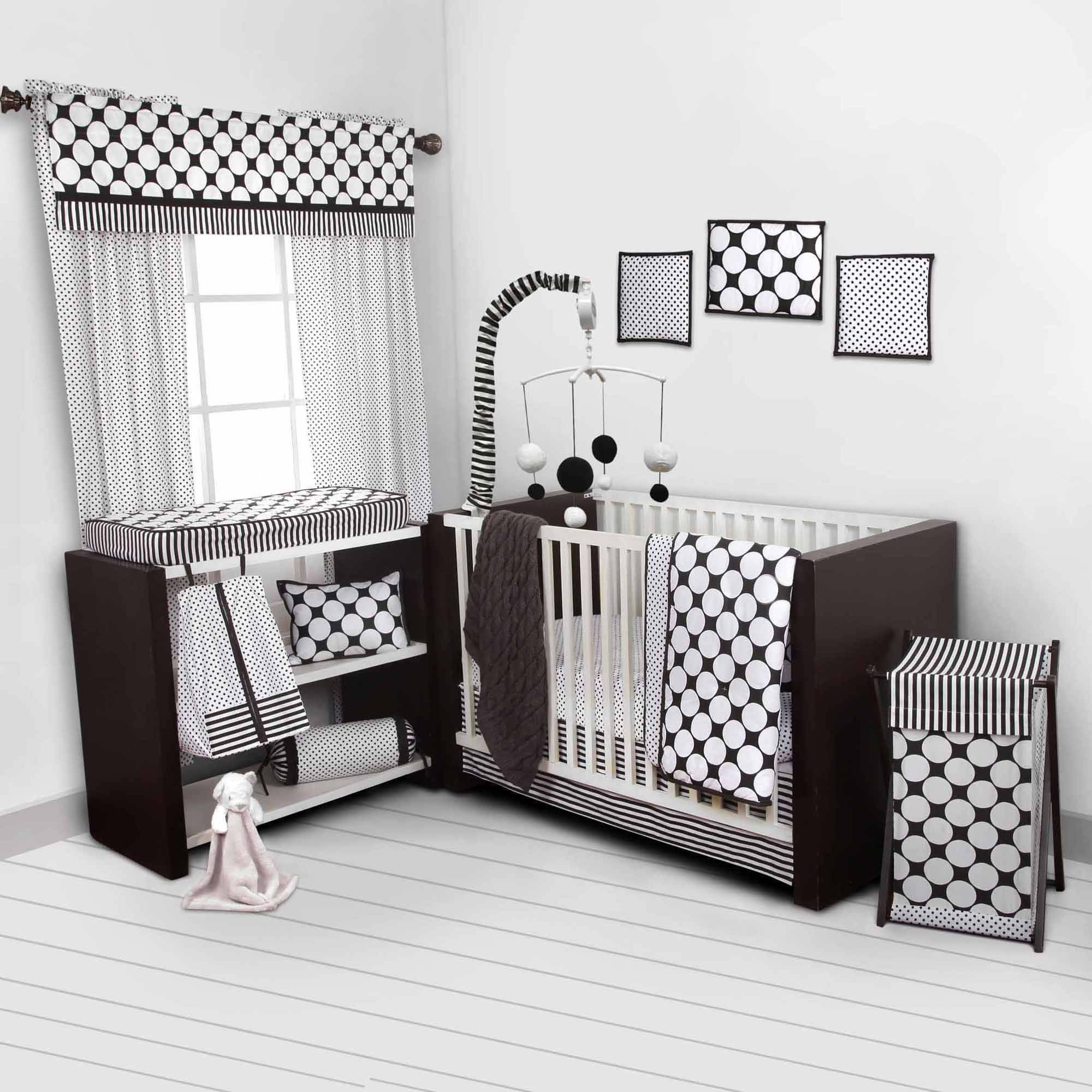 Bacati - Dots/Pin Stripes Black/White 10-Piece Nursery in a Bag Crib Bedding Set 100% Cotton Percale Girls Crib Bedding Set with 2 crib fitted sheets (Bumper Pad not included) for US standard Cribs