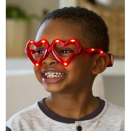 LED Light Up Flashing Eye Love You Heart Shaped Glasses for Kids, Set of 3 - Heart Shaped Glasses