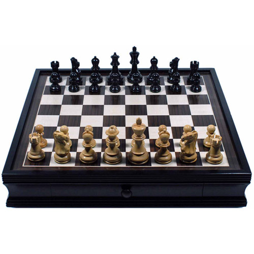 Grand English Style Chess Set with Storage Drawers, Pieces are Tournament Sized and Hand Carved with Black Stained Wood... by Generic