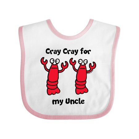Lobster Cray Cray for my Uncle Baby Bib White/Pink One Size (Lobster Bib)