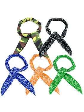 Pack of 5, The Elixir Cooling Bandanna Reusable Cooling Scarf Headband Neck Wrap (Camo, Black, Blue, Orange, Green)