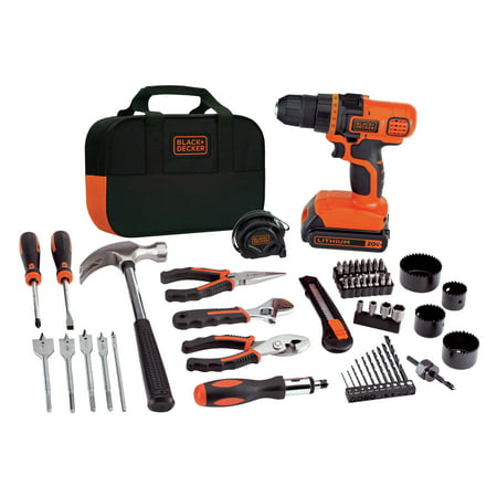 BLACK+DECKER 20-Volt MAX* Lithium-Ion Drill-Driver And 66-Piece Project Kit, LDX120PK ()