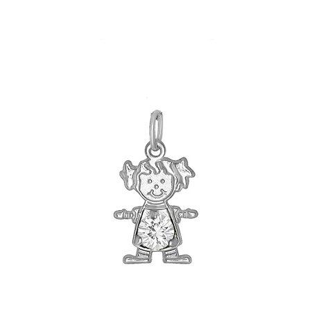 DTLA Sterling Silver CZ Simulated Birthstone Girl Charm Pendant for Baby and Children - April (Child Birthstone Jewelry)