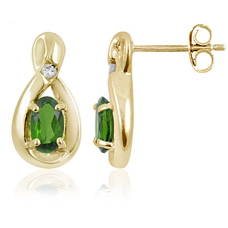 JewelersClub 0.46 Carat Chrome Diopside Gemstone and Accent White Diamond Earrings