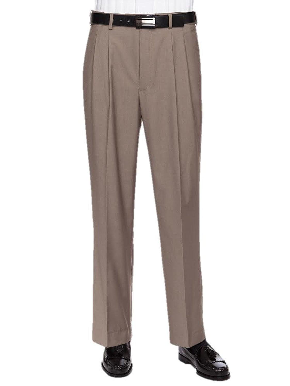 Giovanni Uomo Mens Pleated Front Expandable Waist Dress Pants Beige 46W x 32L